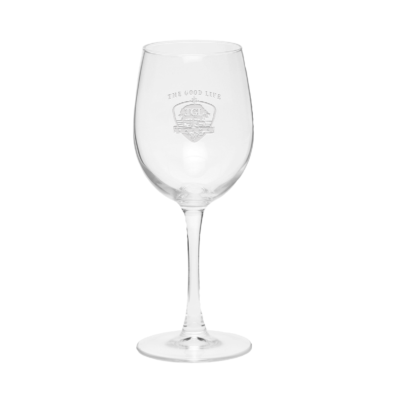 TGL Farms etched wine glass