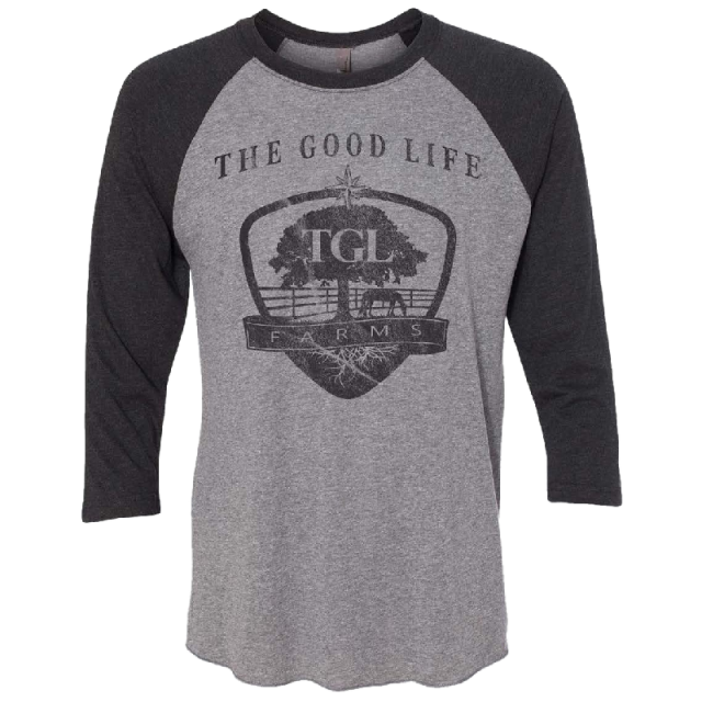 TGL Farms Vintage Black and Premium Heather Raglan Tee
